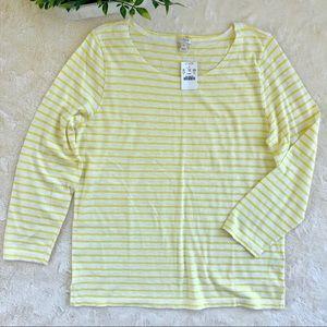J crew yellow white stripe boat neck T shirt XL